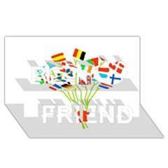 Flag Bouquet Best Friends 3D Greeting Card (8x4)