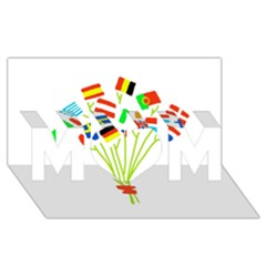 Flag Bouquet Mom 3d Greeting Card (8x4)