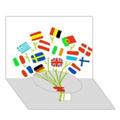 Flag Bouquet Circle Bottom 3D Greeting Card (7x5)