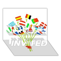 Flag Bouquet YOU ARE INVITED 3D Greeting Card (7x5)