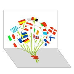 Flag Bouquet Peace Sign 3D Greeting Card (7x5)