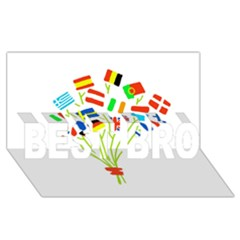 Flag Bouquet BEST BRO 3D Greeting Card (8x4)