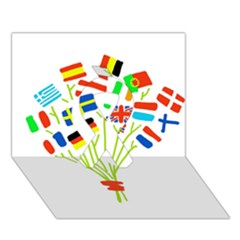 Flag Bouquet Ribbon 3d Greeting Card (7x5)