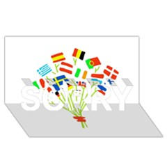 Flag Bouquet Sorry 3d Greeting Card (8x4)