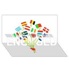 Flag Bouquet ENGAGED 3D Greeting Card (8x4)