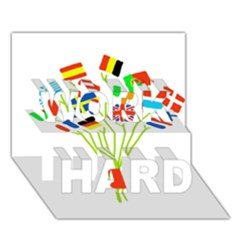Flag Bouquet WORK HARD 3D Greeting Card (7x5)