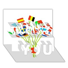 Flag Bouquet THANK YOU 3D Greeting Card (7x5)