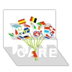 Flag Bouquet Take Care 3d Greeting Card (7x5)
