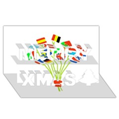 Flag Bouquet Merry Xmas 3d Greeting Card (8x4)