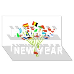 Flag Bouquet Happy New Year 3D Greeting Card (8x4)
