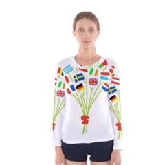 Flag Bouquet Women s Long Sleeve T Shirts