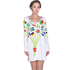 Flag Bouquet Long Sleeve Nightdresses