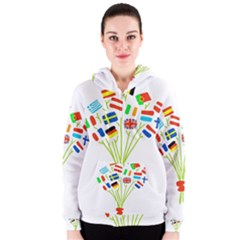 Flag Bouquet Women s Zipper Hoodies