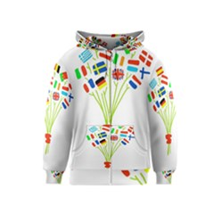 Flag Bouquet Kids Zipper Hoodies