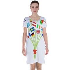 Flag Bouquet Short Sleeve Nightdresses