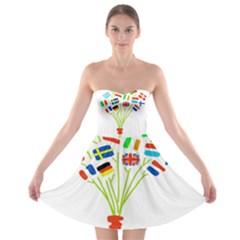 Flag Bouquet Strapless Bra Top Dress
