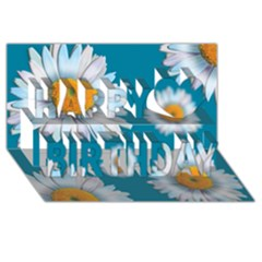 Floating Daisies Happy Birthday 3D Greeting Card (8x4)