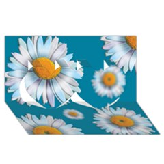 Floating Daisies Twin Hearts 3d Greeting Card (8x4)