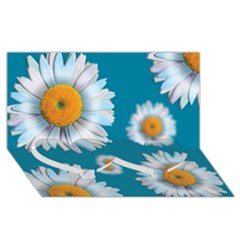 Floating Daisies Twin Heart Bottom 3D Greeting Card (8x4)