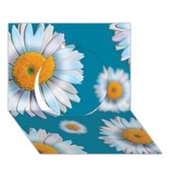 Floating Daisies Circle 3d Greeting Card (7x5)