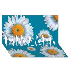 Floating Daisies ENGAGED 3D Greeting Card (8x4)