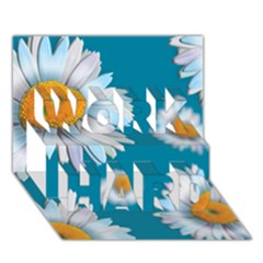Floating Daisies Work Hard 3d Greeting Card (7x5)
