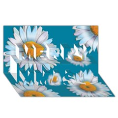 Floating Daisies Merry Xmas 3D Greeting Card (8x4)