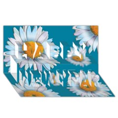 Floating Daisies Happy New Year 3D Greeting Card (8x4)