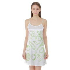 Green Vegetables Satin Night Slip