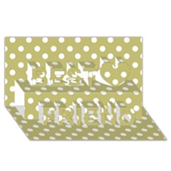 Lime Green Polka Dots Best Friends 3d Greeting Card (8x4)