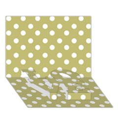Lime Green Polka Dots Love Bottom 3d Greeting Card (7x5)