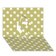 Lime Green Polka Dots Ribbon 3d Greeting Card (7x5)