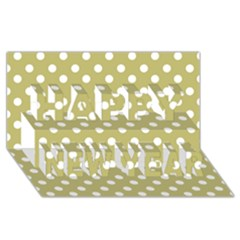 Lime Green Polka Dots Happy New Year 3D Greeting Card (8x4)