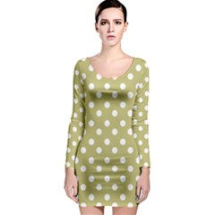 Lime Green Polka Dots Long Sleeve Bodycon Dresses