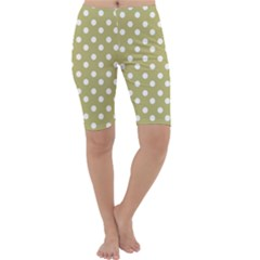 Lime Green Polka Dots Cropped Leggings