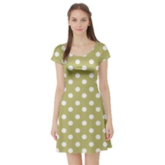 Lime Green Polka Dots Short Sleeve Skater Dresses