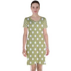 Lime Green Polka Dots Short Sleeve Nightdresses