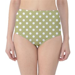 Lime Green Polka Dots High-Waist Bikini Bottoms