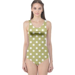 Lime Green Polka Dots Women s One Piece Swimsuits