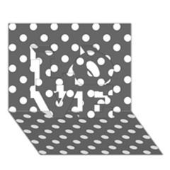 Gray Polka Dots LOVE 3D Greeting Card (7x5)