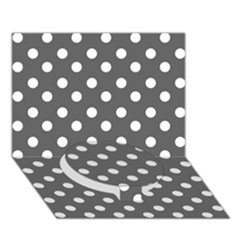 Gray Polka Dots Circle Bottom 3D Greeting Card (7x5)