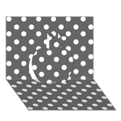 Gray Polka Dots Apple 3D Greeting Card (7x5)