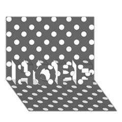 Gray Polka Dots HOPE 3D Greeting Card (7x5)