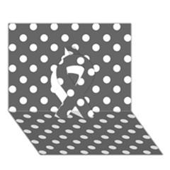 Gray Polka Dots Ribbon 3d Greeting Card (7x5)