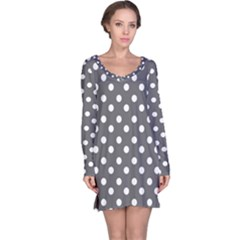 Gray Polka Dots Long Sleeve Nightdresses