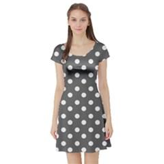 Gray Polka Dots Short Sleeve Skater Dresses