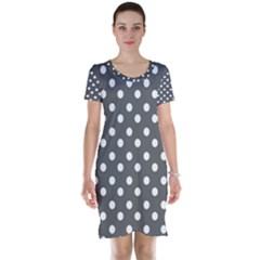 Gray Polka Dots Short Sleeve Nightdresses