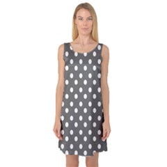 Gray Polka Dots Sleeveless Satin Nightdresses