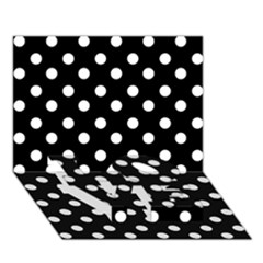 Black And White Polka Dots LOVE Bottom 3D Greeting Card (7x5)