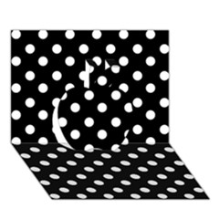 Black And White Polka Dots Apple 3D Greeting Card (7x5)